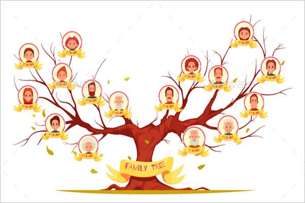 Horizantal Photo Family Tree Template