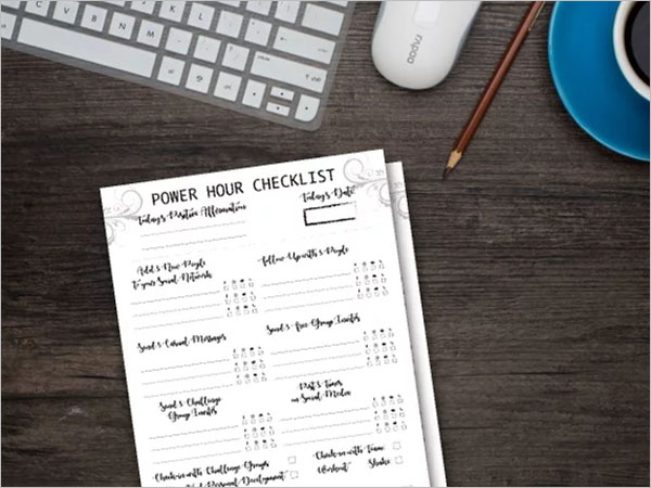 Hourly Checklist Template
