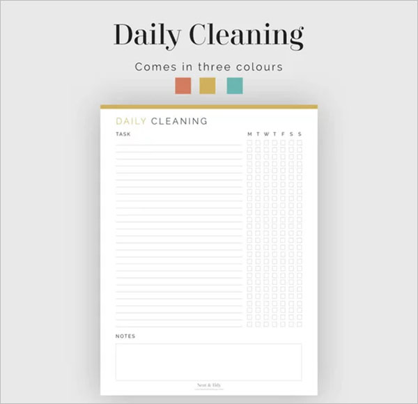 Household Daily Planner Checklist Template