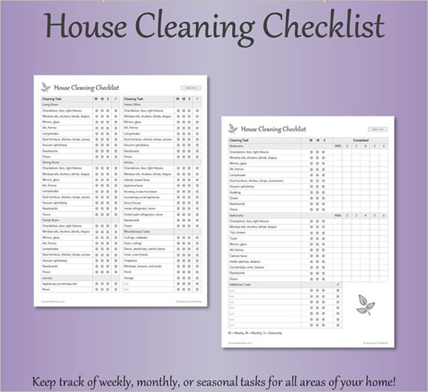 Housekeeping Daily Cleaning Checklist Format