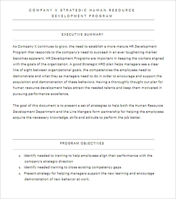 Human Resource Objective template
