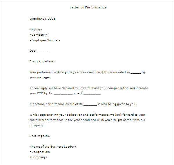 Increment Promotion Letter Example