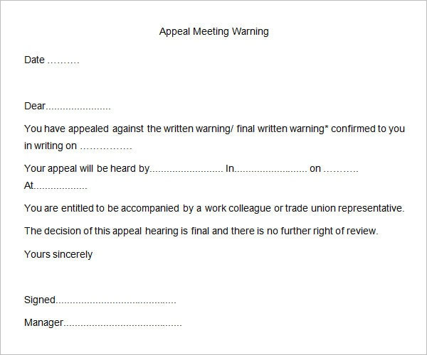 Fighting A Speeding Ticket >> 26+ HR Warning Letter Templates Free Word, Doc, PDF Samples