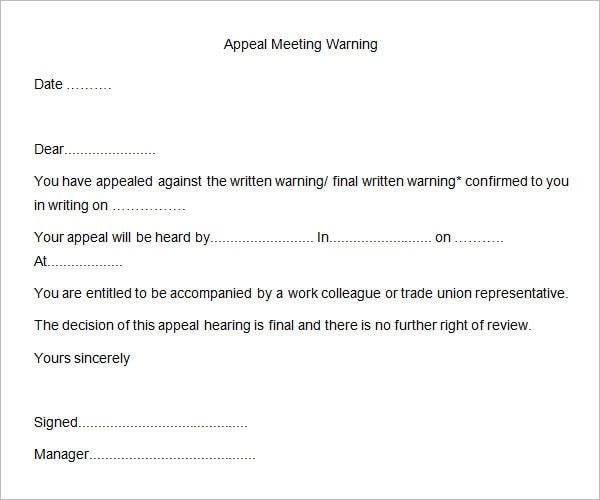 Informal Warning Letter Template