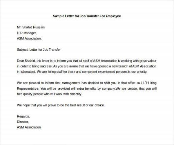 Job Transfer Letter Template from www.creativetemplate.net