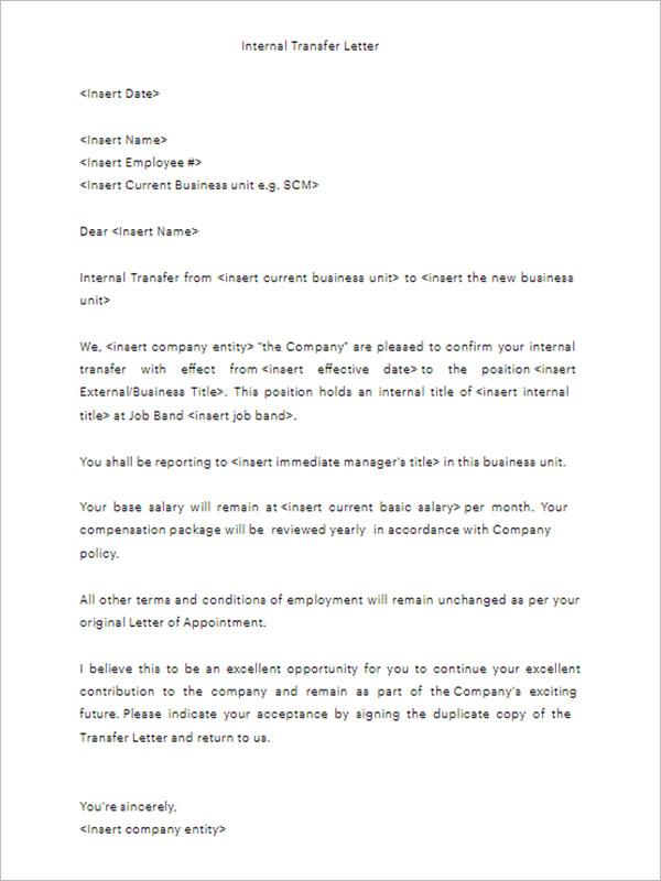 Internal Transfer Letter Template