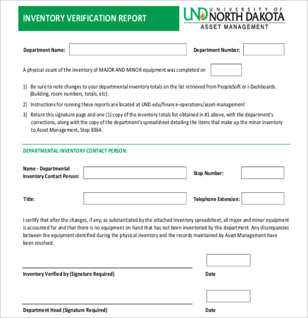 Inventory Verification Report Template