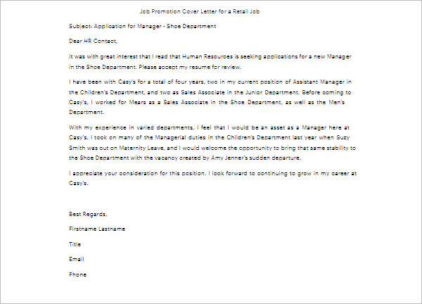 Job Promotion Cover Letter Template