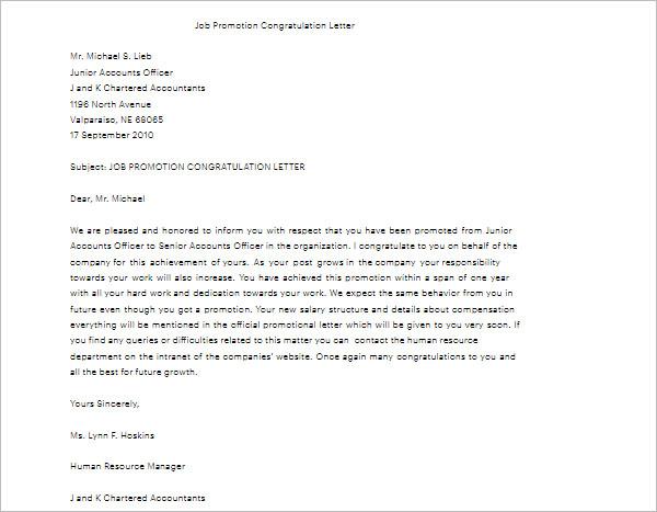Job Promotion Letter Template