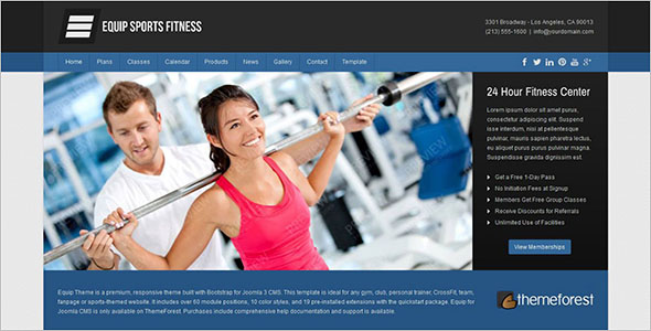 Joomla Fitness Center Template