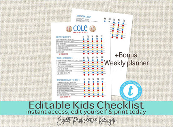 Kids Editable Daily Checklist Template