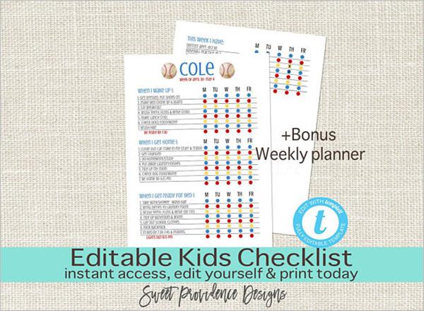 Kids Editable Daily Checklist Template