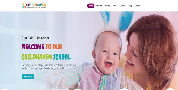 Kids Kindergarten Website Template