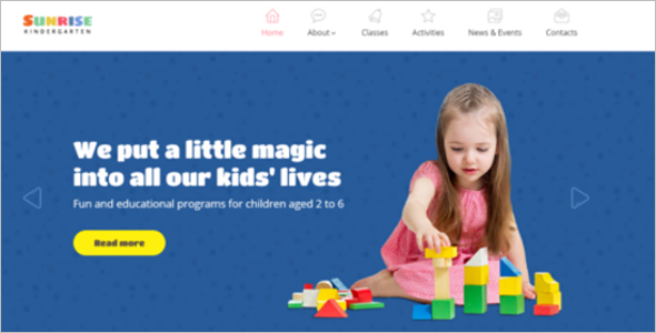 Kindergarten Learning Website Template