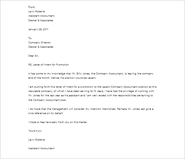 Letter Of Intent For Promotion Template