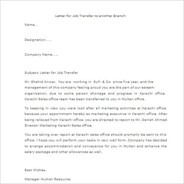 Letter Of Transfer Format
