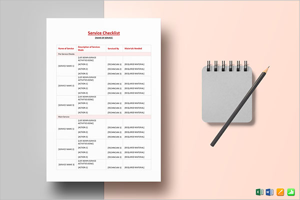 MS Word Cleaning Services Checklist Template
