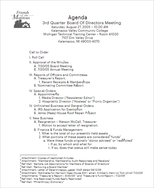 Management Board Of Director Meeting Template