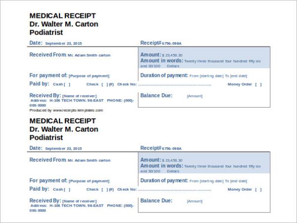 Medical Insurance Receipt Template
