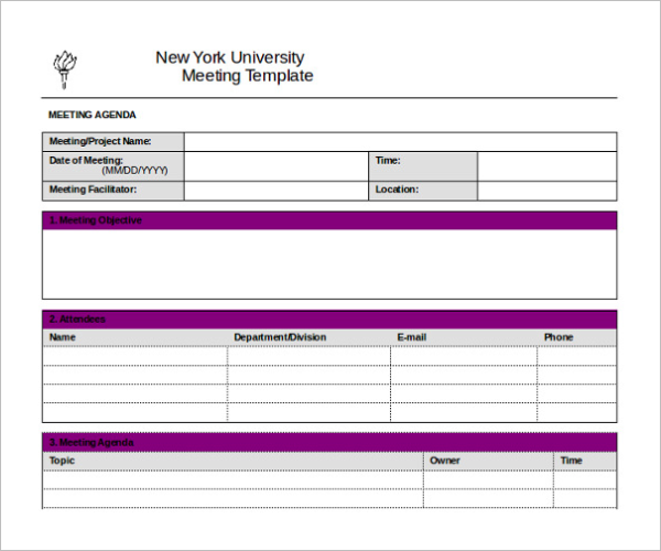 Meeting Itinerary Template Example