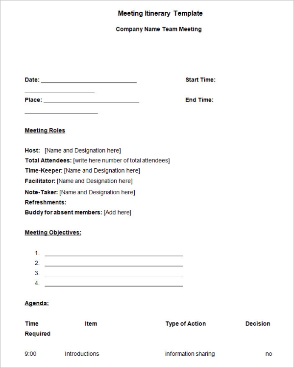 Meeting Itinerary Template Word