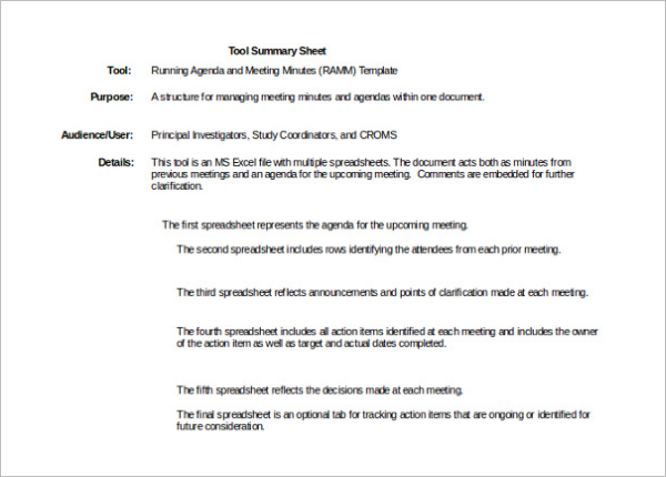 Meeting Summary Minutes Template
