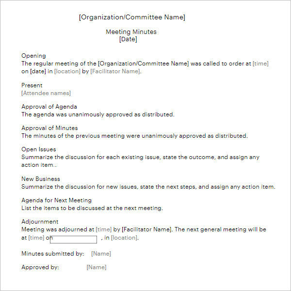 Minutes For Organization Meeting Template