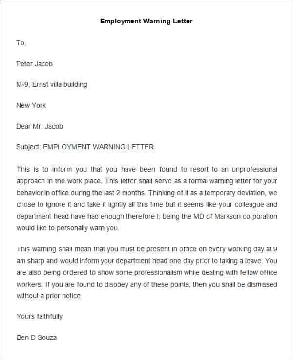 Misconduct Warning Letter Template