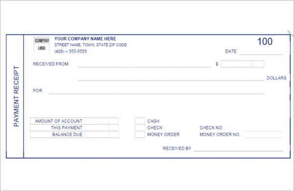 Money Payment Receipt Template