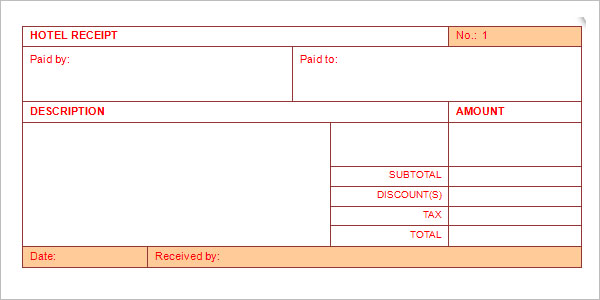 Money Receipt For Hotel Bill Payment
