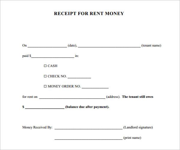 cash receipt example