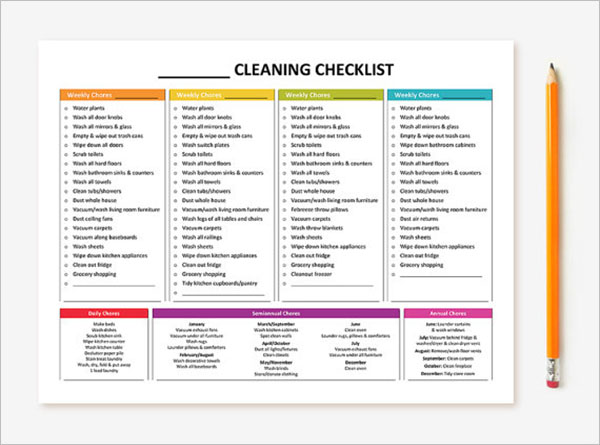 Monthly Cleaning Checklist Sample