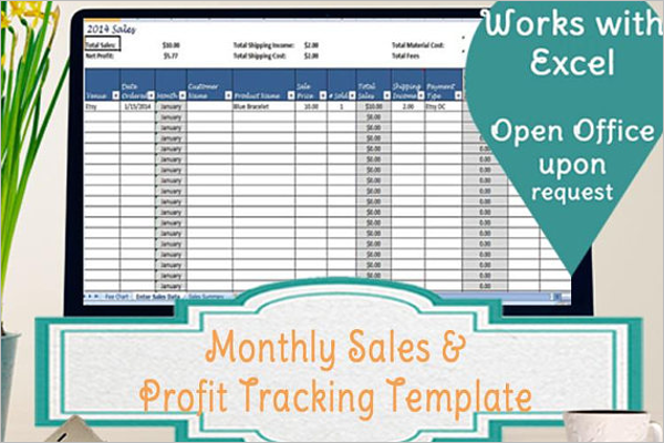 Monthly Sales Tracker Template Speardsheet