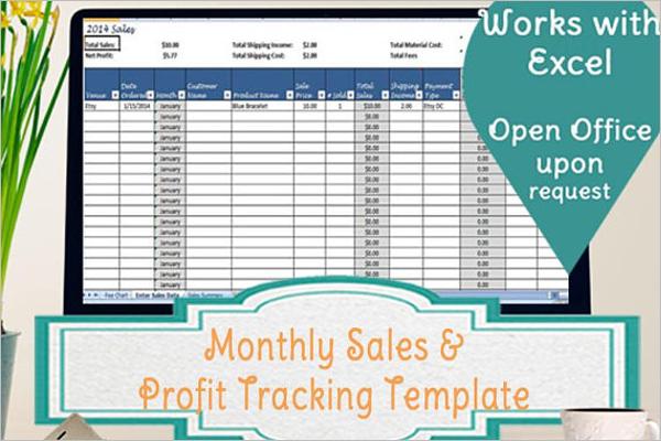 Monthly Sales Tracker Template Speardsheet