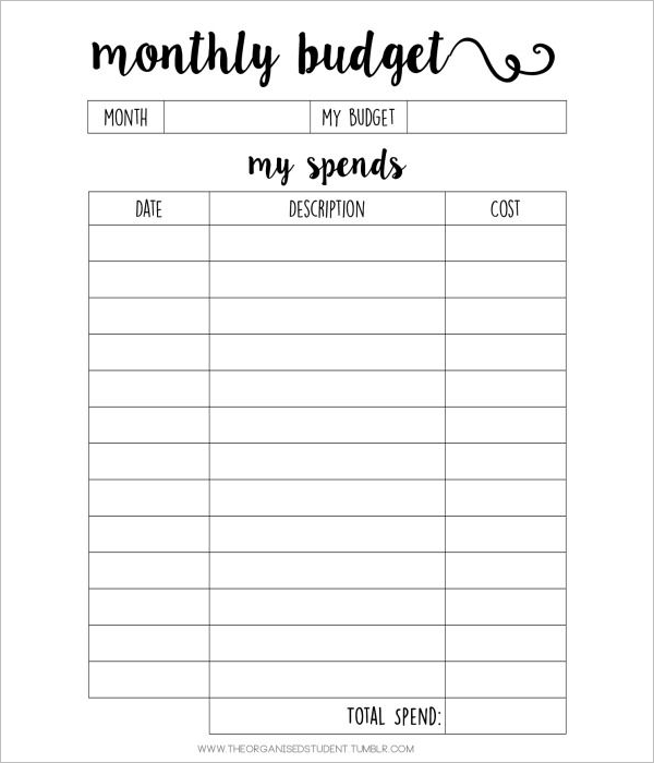 Monthly Student Budget Template