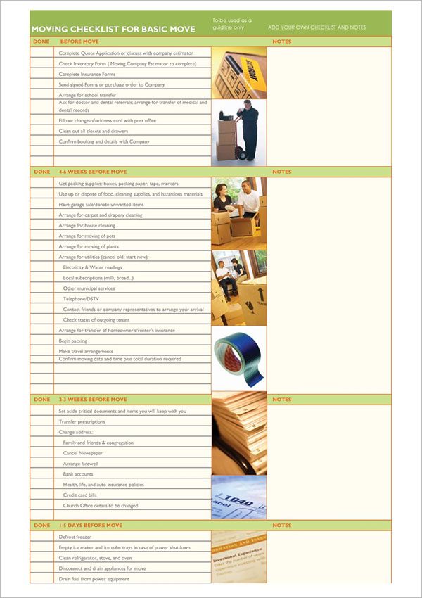 Moving Checklist Excel Free Download