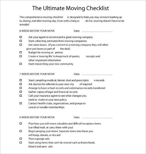 Moving Checklist Template MS Excel