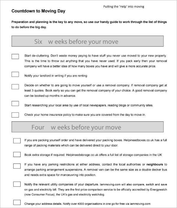 Moving Day Checklist Template