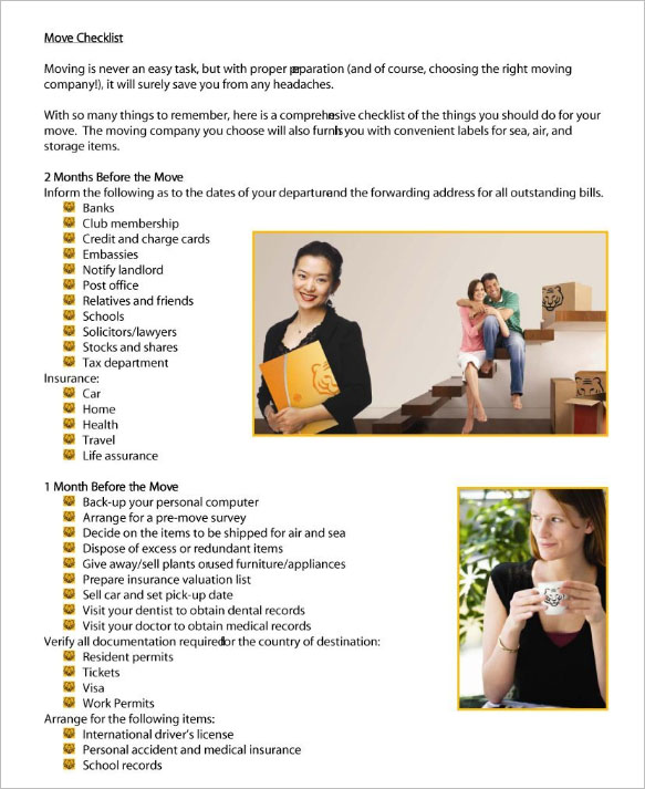 Moving House Checklist Template