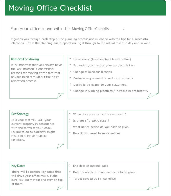 Moving Office Checklist Template Free Download