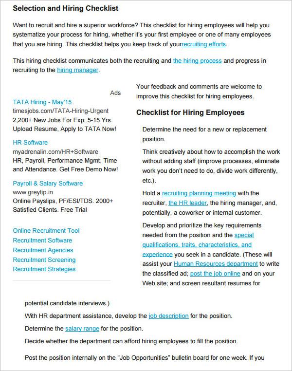 New Hire Checklist Template Free