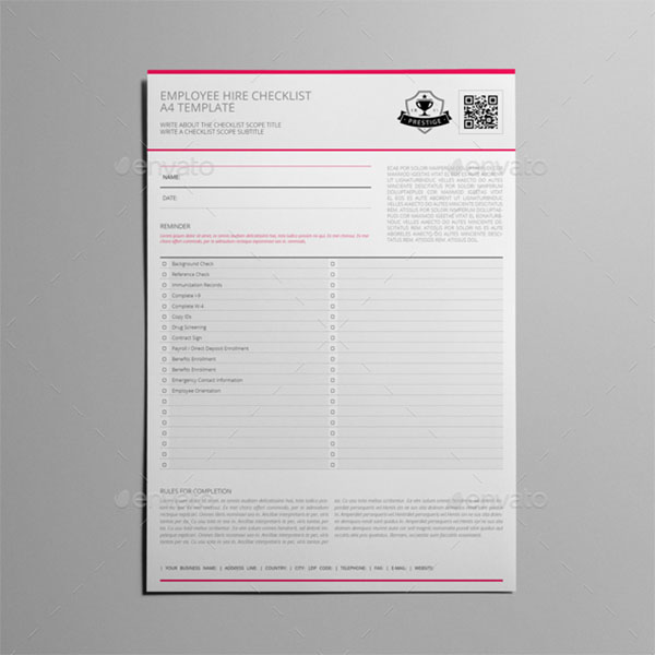 New Hire Checklist Template InDesign