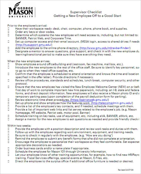 New Hire Checklist Template PDF