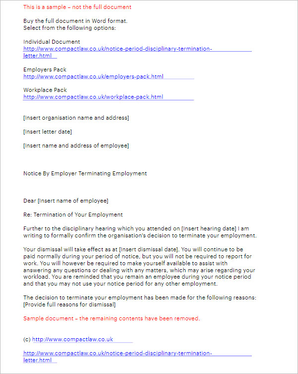 Notice Period Disciplinary Termination Letter