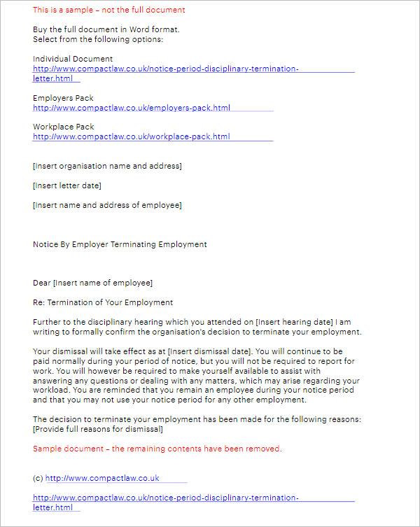 Notice Period Disciplinary Termination Letter