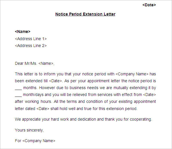 Notice Period Extension Letter Template