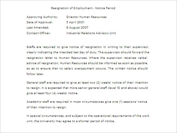 Notice Period Letter For Staff Resignation