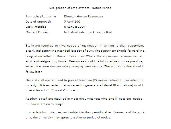 Notice Period Letter ForStaff Resignation