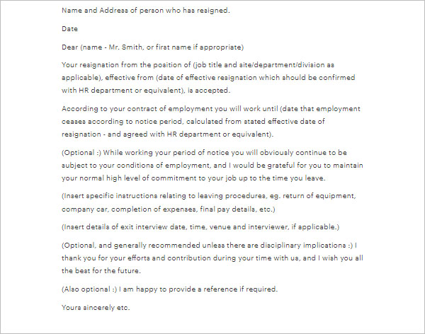 Notice Period Letter Sample Template