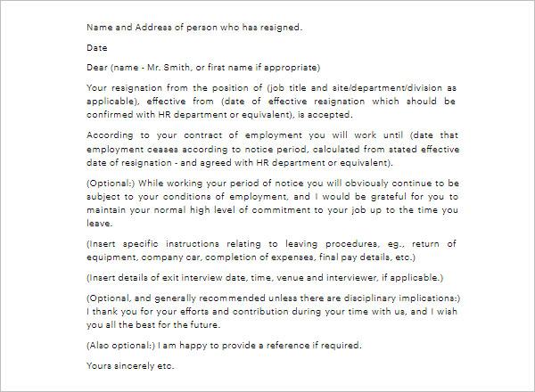 Notice Period Letter Template PDF